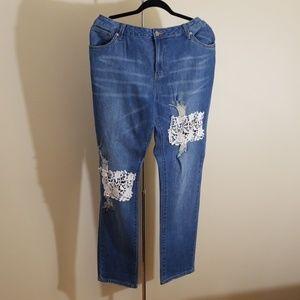 Venus size 16 distressed lace jeans